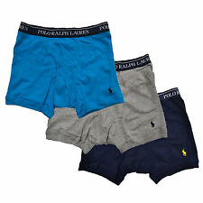 Polo Ralph Lauren Mens Underwear 3 Pack Boxer Briefs Classic Fit Pony Logo New