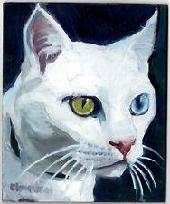 Original oil painting animal CAT feline portrait white impressionist art signed