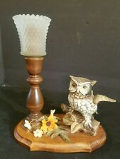 Vintage Home Interior Glass Candle Holder With Ceramic Owl And Wood Base