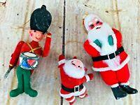 Vtg Christmas Ornaments Santa Claus Nutcracker Drummer Festive 60's retro