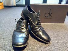 ck CALVIN KLEIN Black Patent-leather Cap-toe Dress Shoes Mens Size 42 EU