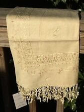 New_Beautiful Versatile Pashmina Style Scarf  / Wrap with Embroidery_Cream