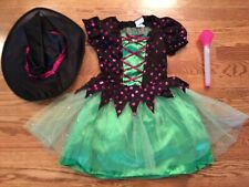 Girls Play Dress Costume Purple Black Green Dress Witch Hat Light Up Wand Medium