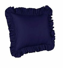 """2 Piece Euro Ruffled Shams Solid Navy Blue Cover Case Decorative Pillow 26""""x26"""""""