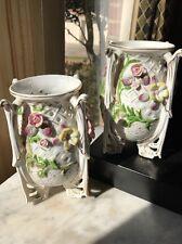 Porcelain Floral Vases Pair