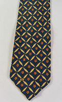 VALENTINO Made in Italy Cravatte Floral Print Blue 100 Silk Necktie Mens Tie NR