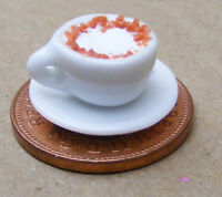 1:12 Scale Coffee In A White Ceramic Cup + Saucer Dolls House Miniature D2