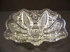 ANTIQUE EAPG PRESSED CUT GLASS FRUIT CENTERPIECE BOWL HOBSTAR IMPERIAL OVAL