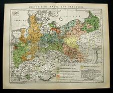 1893.Mappa Geo-Topografica.STORICA CARTA DELLA PRUSSIA/PREUSSEN.Brockhaus.ETNA