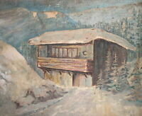 Vintage impressionist oil painting winter landscape mountain house signed
