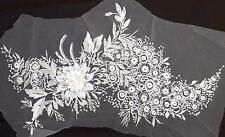 Large 3D White Sequined Floral Embroidery Applique Motif Lace Sewing Trim EB0278