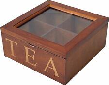 Caja de almacenamiento de té de madera marrón 4 compartimentos
