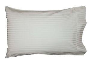 2 Pillow Cases Pure Cotton 1000TC per 10cm2 White Stripe 50x75cm Oversize
