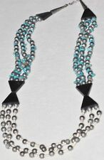 & Burnished Silver Tone Beads Triple Strand Native American Turquoise
