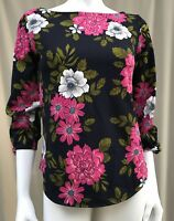 NEW ANN TAYLOR Blue Floral Classic Boatneck 3/4 Sleeve Blouse Shirt Top 8 10 M