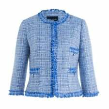 Bariloche Tweed Boucle Cropped Elvas Jacket UK 14 Womens Frill Edge to Edge Blue