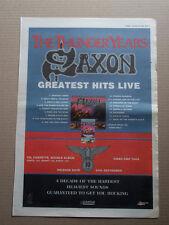SAXON - THUNDER YEARS GREATEST HITS LIVE -  ORIGINAL VINTAGE 1990 ADVERT POSTER