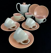 Poole Pottery Twintone Tea Set / For 6 People / Pink / Grey Twin Tone Miniature