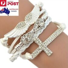Crystal Angel Wings Silver Cross Charm White Braided Leather Bracelet Gift New