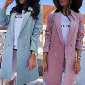Women Long Lapel Trench Coat Slim Blazer Jacket Outwear Winter Autumn Overcoat
