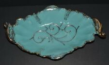 Mid Century Modern Maurice of Calif Console Bowl/Dish G803 Turquoise w/Gold