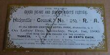 Rare Royal Arcanum Fraternal Benefit Society Festival Ticket Hicksville NY 1890
