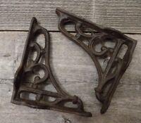 """2 Antique Style Shelf Brace Wall Bracket Cast Iron Brackets SMALL 3 1/2"""" X 4"""""""