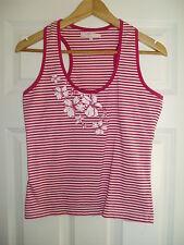 Ladies Designer RIP CURL Size XL Pink & White Vest Top