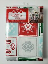 "Vinyl Tablecloth Round Tile Snowflakes Deer Christmas Trees 70"" Brand New"