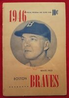 1946 Boston Braves Official Program and Score Card, Vintage, See ALL 12 pics..