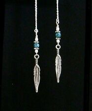 *IAJ* PEARL & BLUE TURQUOISE FEATHER DANGLE STERLING SILVER Threader Earrings