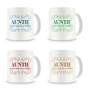 """""""Auntie One In A Million"""" Gift Present Mug For Auntie Aunty Birthday (4 Colours)"""