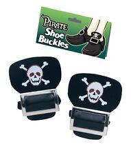 Black pirate shoe buckle buckles skull and crossbones costume accessory