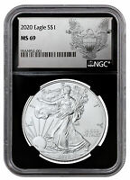 2020 $1 1 oz Silver American Eagle Coin NGC MS69 Black Core Heraldic Eagle