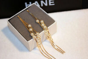 18K Gold Plated Multi Pearl and Chain Drop Dangle Earrings