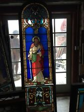 Sg438 Antique Religious Painted In Fired Window Man With A Sword And Book