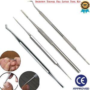 Ingrown Toe Nail File & Lifter Kit Manicure Pedicure Chiropody Podiatry Tool 4pc
