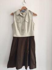 Antonio Melani Cream And Brown Shirt Dress Size 4 US (fits UK 10)