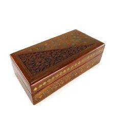 Vintage Hand Carved Wooden Rectangle Trinket Box Floral Design Red Fabric Inlay
