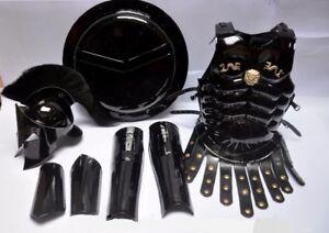 Medieval King Spartan 300 Helmet Black Plume Muscle Jacket Leg & Arm Guard Set