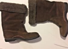 Fratelli Rossetti Leather Suede Boots Brown Fur Lined Size 10 Mid Calf Flexa