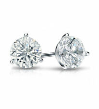 1ct (5.0mm) 9K White Gold VS/FG GENUINE Round Moissanite Diamond Stud Earrings