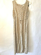 Katie Lee Womens Long Maxi Dress Size 14 Floral Pattern Sleeveless Tan Tie Front