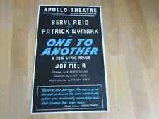 Beryl Reid & Patrick Wymark in One to Another Original Apollo Theatre Poster