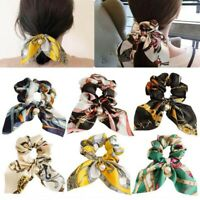 Girl Solid Floral Bow Scrunchie Hair Band Elastic Hair Ties Rope