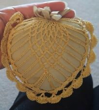 Antique Vintage Hand Crocheted Lace & Silk Heart Pincushion-Hand Made Sewing