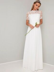 Chi Chi Bridal Short Sleeved 3D Lace Wedding Dress in White UK 10 (RP £95)