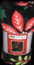 HOLIDAY TIME CHRISTMAS POINSETTIAS HOLLY SUPER SOFT PLUSH THROW BLANKET 50X 60