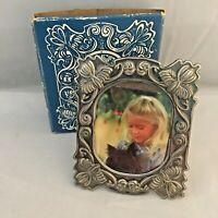 Vintage Brass Miniature Photo Picture Frame Silver Plate Nouveau 1983 USA Easel