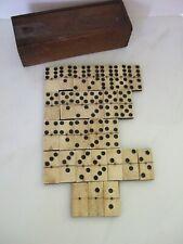 Antique Bone & Ebony Wood Domino Set in Dovetailed Box 28 Tiles